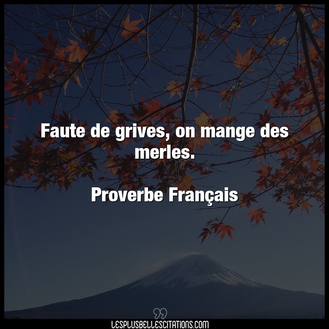 Faute de grives, on mange des