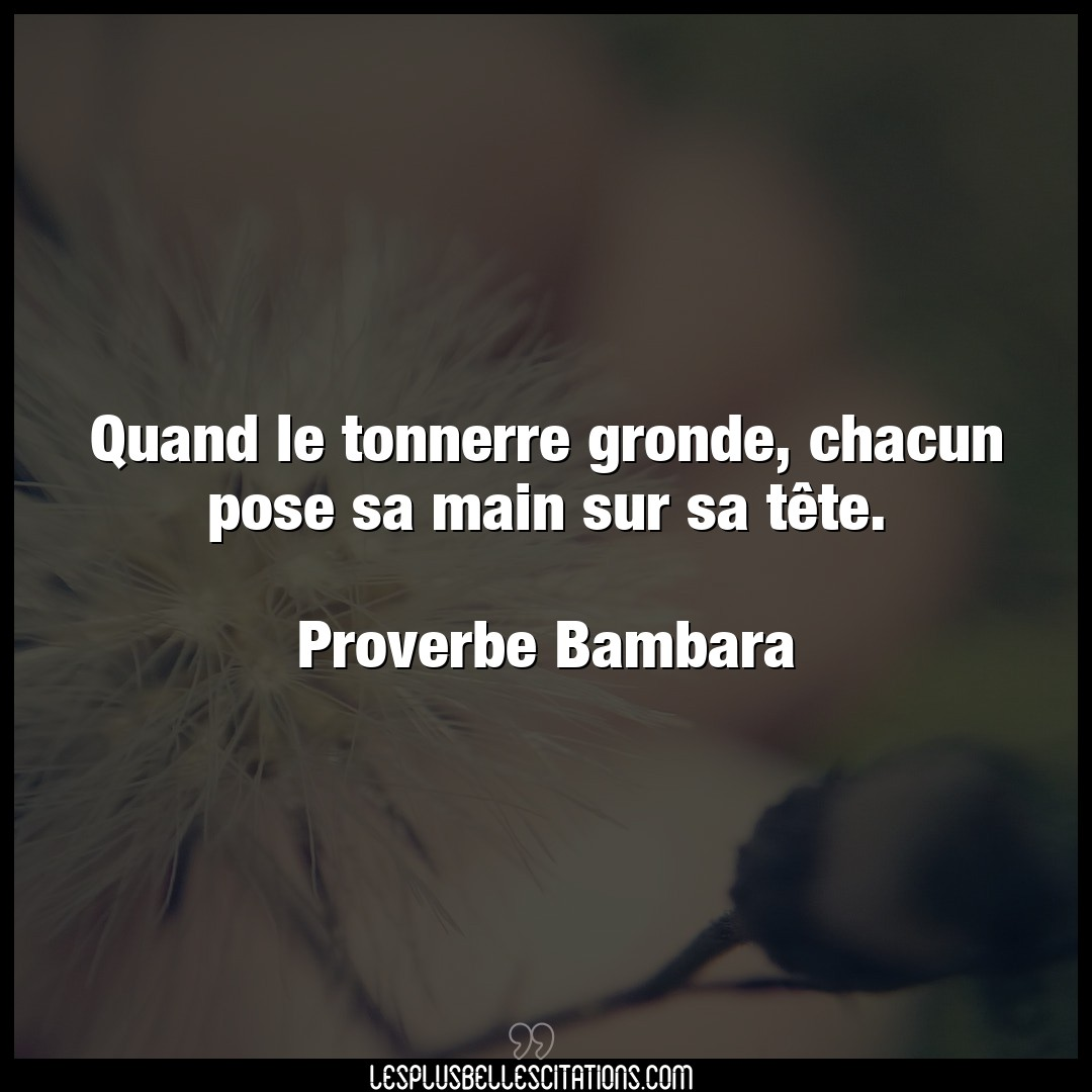 Quand le tonnerre gronde, chac