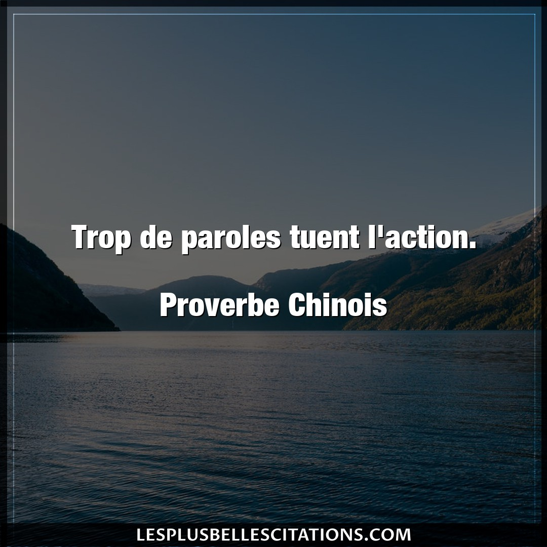 Trop de paroles tuent l'action